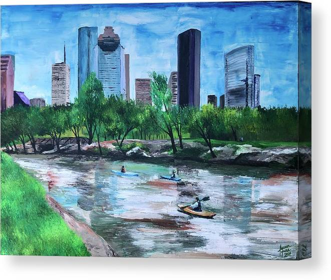 River Canvas Print featuring the painting Pon de River by Lauren Luna