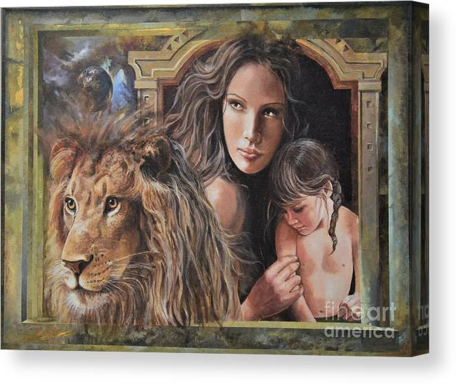 Portraits Canvas Print featuring the painting Protection by Sinisa Saratlic