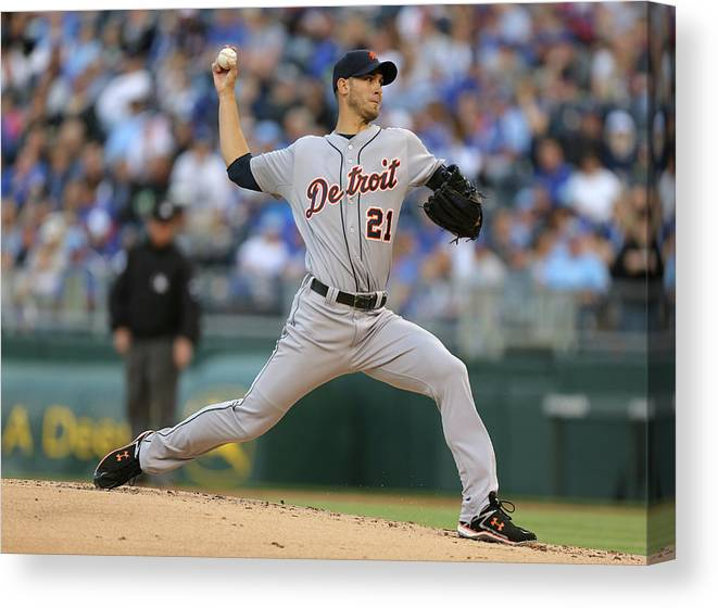 American League Baseball Canvas Print featuring the photograph Rick Porcello by Ed Zurga