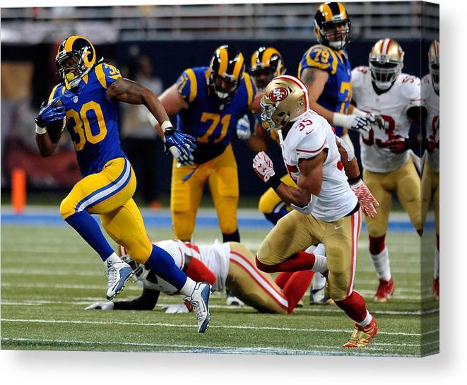 People Canvas Print featuring the photograph San Francisco 49ers v St Louis Rams by Michael B. Thomas