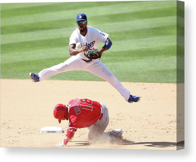 Double Play Canvas Print featuring the photograph Shane Victorino and Jimmy Rollins by Stephen Dunn