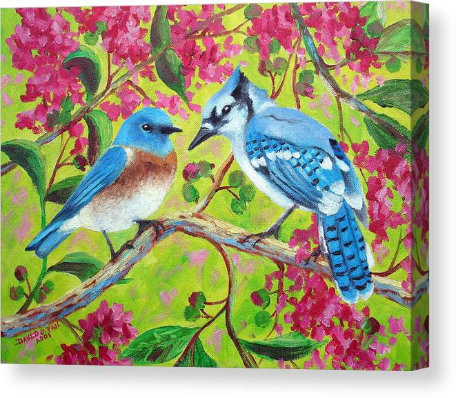 Birds Canvas Print featuring the painting Sharing A Branch by David G Paul