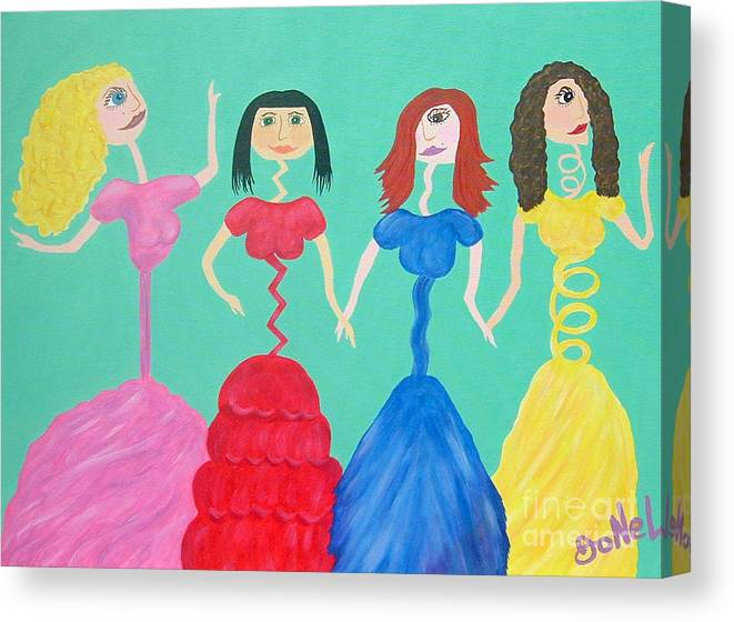 Model Canvas Print featuring the painting Skinny Miss Minnies..Anorexic Models by JoNeL Art