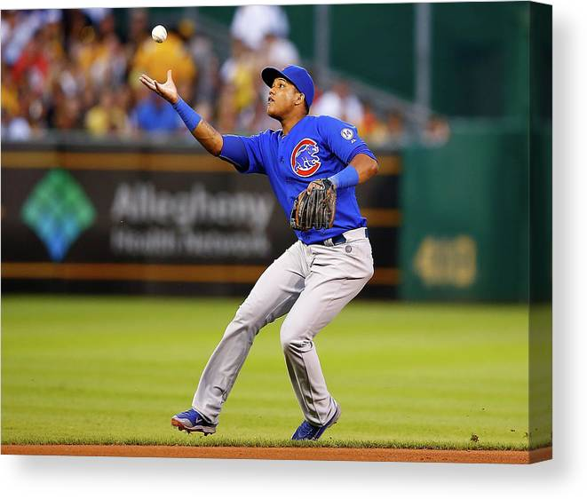 People Canvas Print featuring the photograph Starlin Castro by Jared Wickerham