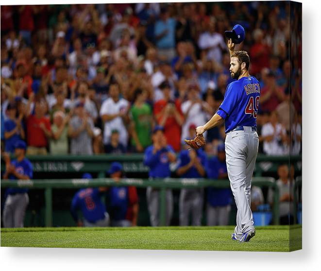 American League Baseball Canvas Print featuring the photograph Stephen Drew and Jake Arrieta by Jared Wickerham