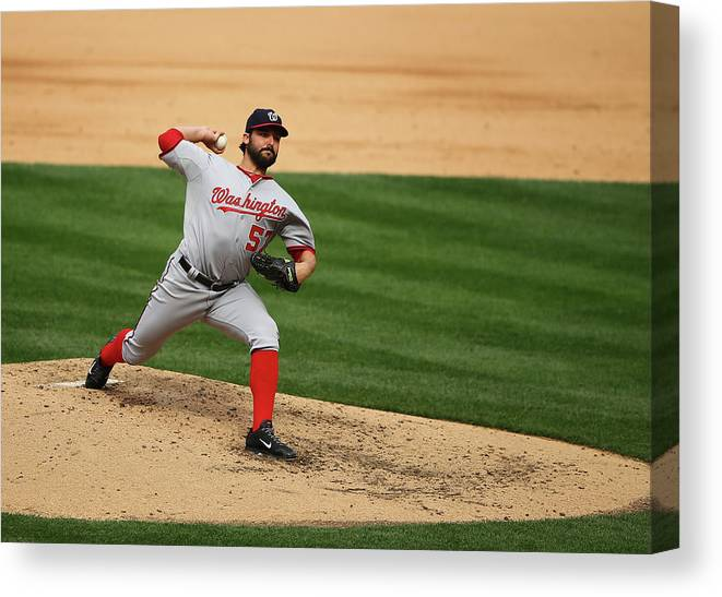 People Canvas Print featuring the photograph Tanner Roark by Al Bello