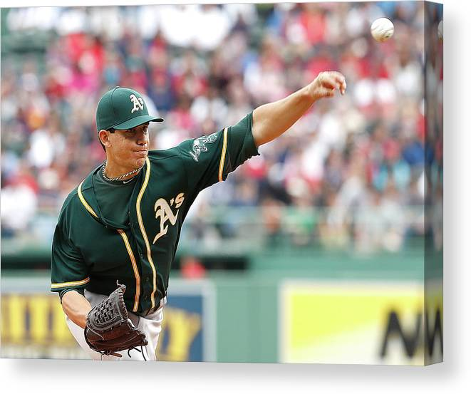 American League Baseball Canvas Print featuring the photograph Tommy Milone by Jim Rogash