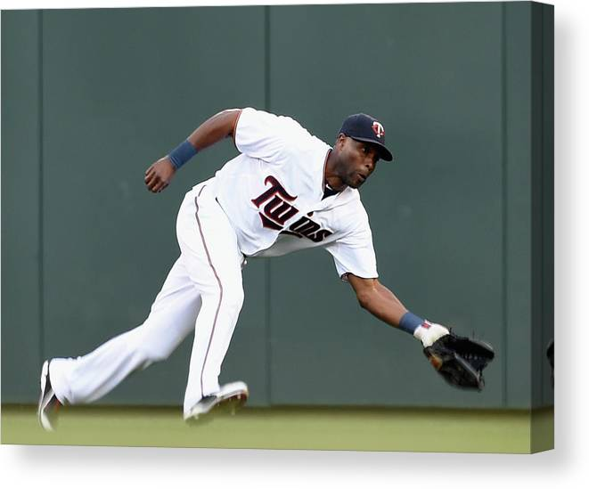 People Canvas Print featuring the photograph Torii Hunter by Hannah Foslien