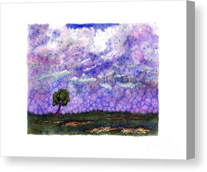 Clouds Canvas Print featuring the painting Voices in The Sky by Karen Wheeler