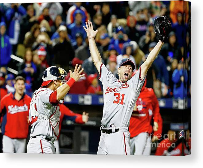 People Canvas Print featuring the photograph Wilson Ramos and Max Scherzer by Al Bello