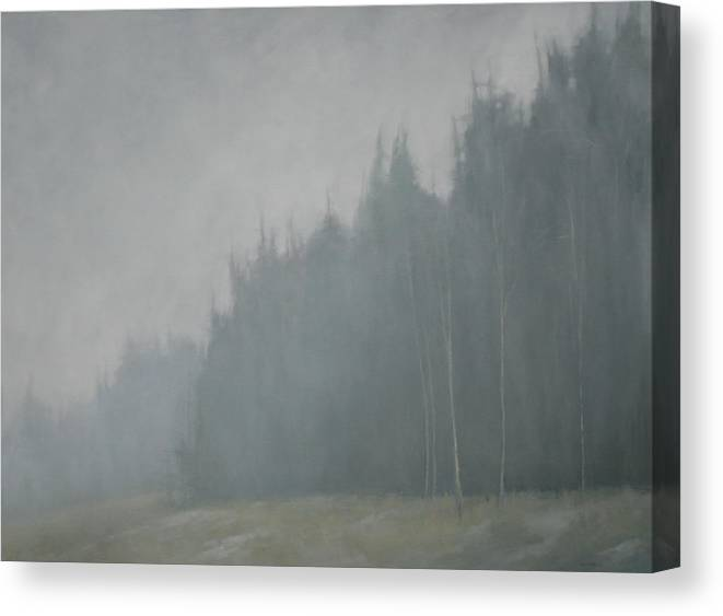 Canvas Print featuring the painting Woods Whisper by Mary Jo Van Dell