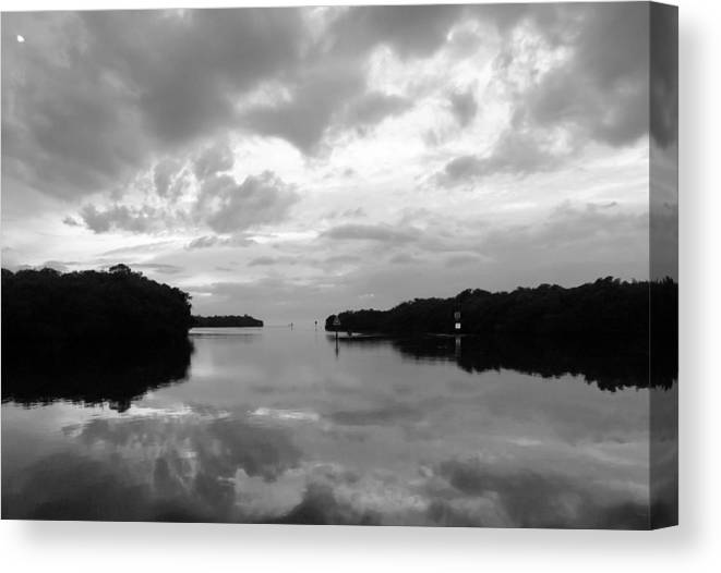Seascape Canvas Print featuring the photograph Days End Bw by Norman Johnson
