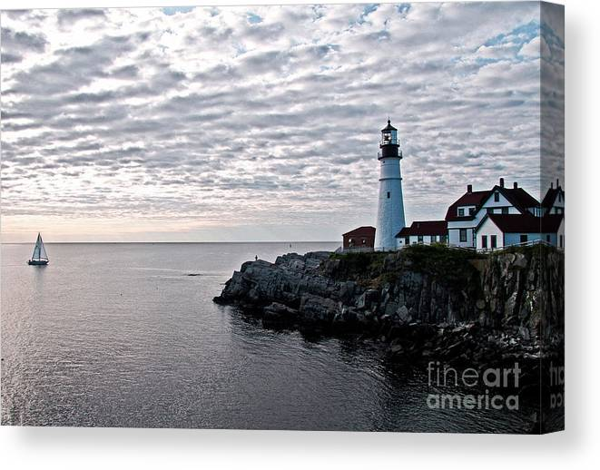 Portland Headlight Canvas Print featuring the photograph Portland Head Light by Brenda Giasson