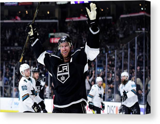 Playoffs Canvas Print featuring the photograph San Jose Sharks V Los Angeles Kings - by Harry How