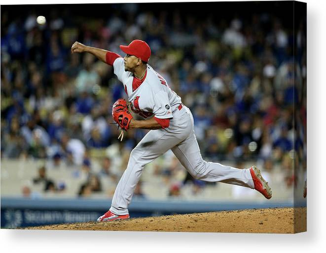 St. Louis Cardinals Canvas Print featuring the photograph St Louis Cardinals V Los Angeles Dodgers by Stephen Dunn