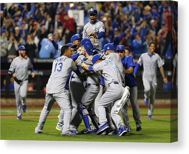 American League Baseball Canvas Print featuring the photograph World Series - Kansas City Royals V New by Elsa
