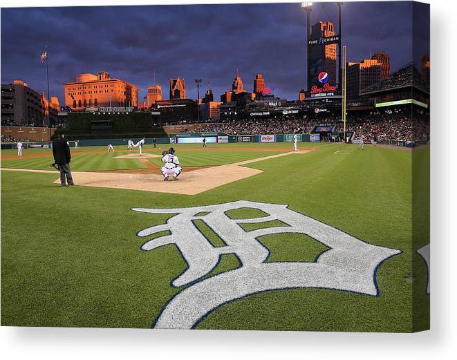 American League Baseball Canvas Print featuring the photograph Minnesota Twins V Detroit Tigers by Leon Halip