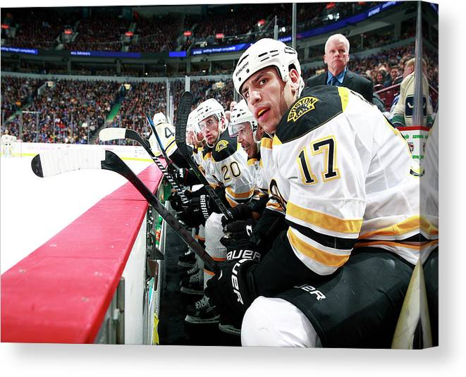 National Hockey League Canvas Print featuring the photograph Boston Bruins V Vancouver Canucks by Jeff Vinnick