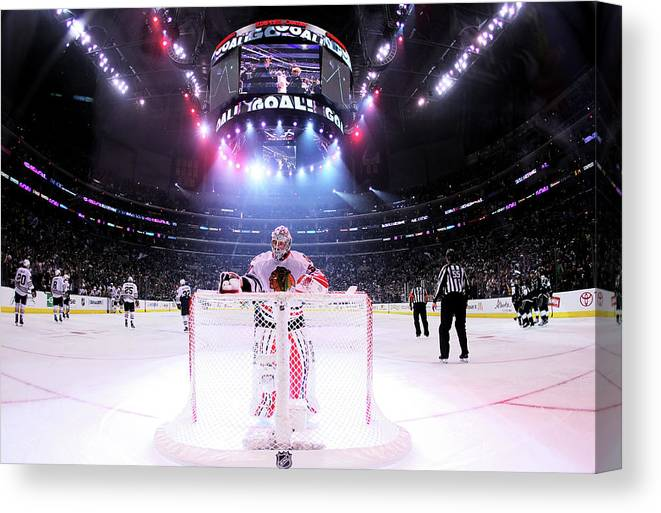 Playoffs Canvas Print featuring the photograph Chicago Blackhawks V Los Angeles Kings by Jeff Gross