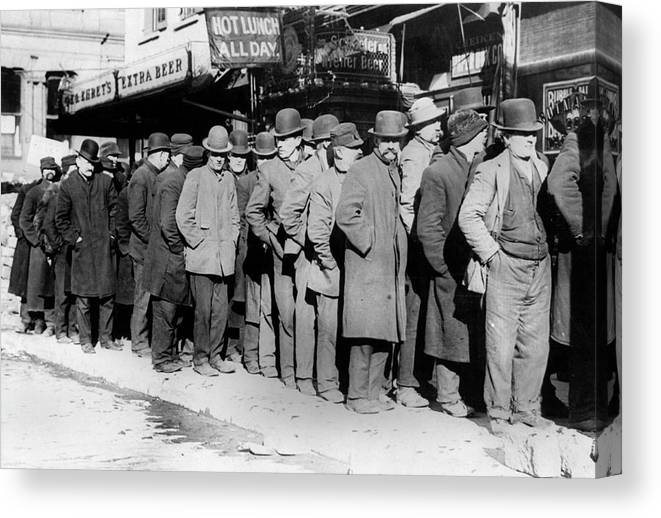 1910 Canvas Print featuring the photograph New York City Bread Line by Granger