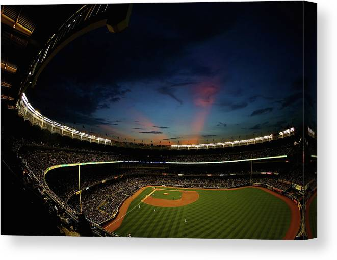 American League Baseball Canvas Print featuring the photograph New York Mets V New York Yankees by Al Bello