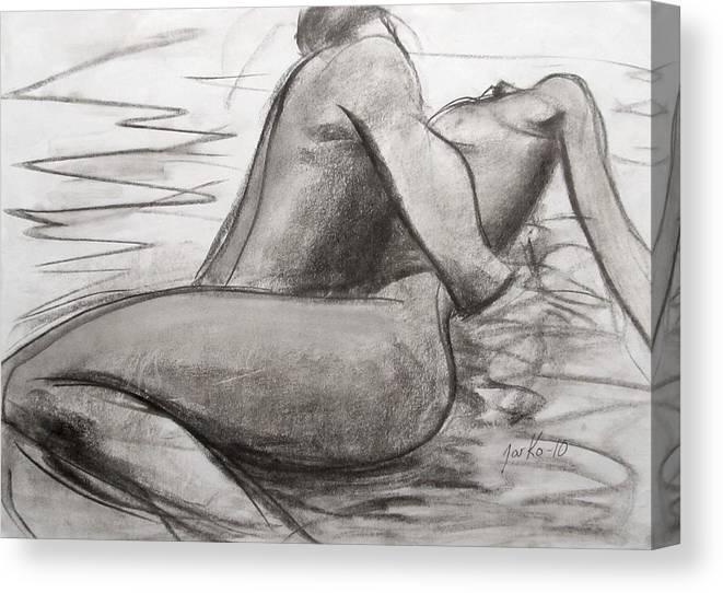 Male Canvas Print featuring the painting Deep Love by Jarmo Korhonen aka Jarko