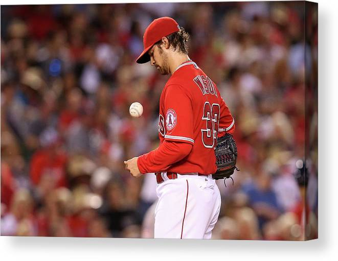 Three Quarter Length Canvas Print featuring the photograph Houston Astros V Los Angeles Angels Of by Stephen Dunn