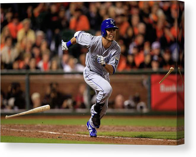 Double Play Canvas Print featuring the photograph World Series - Kansas City Royals V San by Jamie Squire