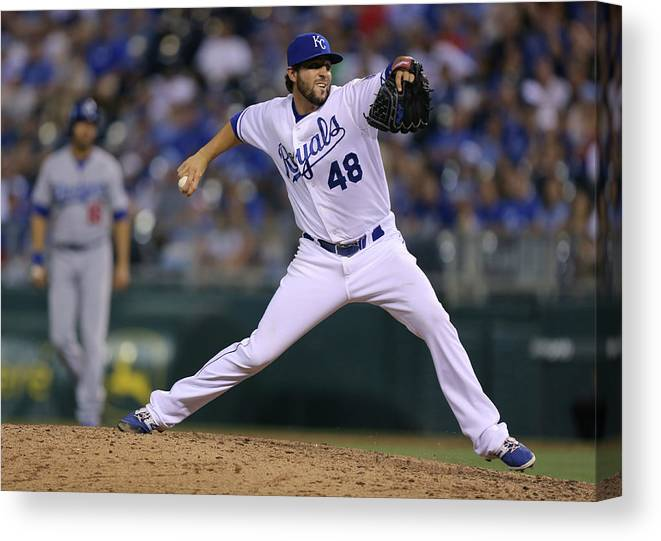 Ninth Inning Canvas Print featuring the photograph Los Angeles Dodgers V Kansas City Royals by Ed Zurga