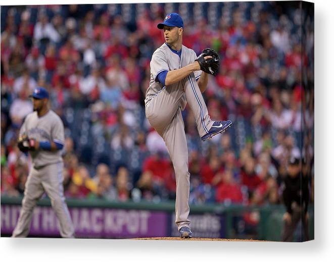 Citizens Bank Park Canvas Print featuring the photograph Toronto Blue Jays V Philadelphia by Mitchell Leff