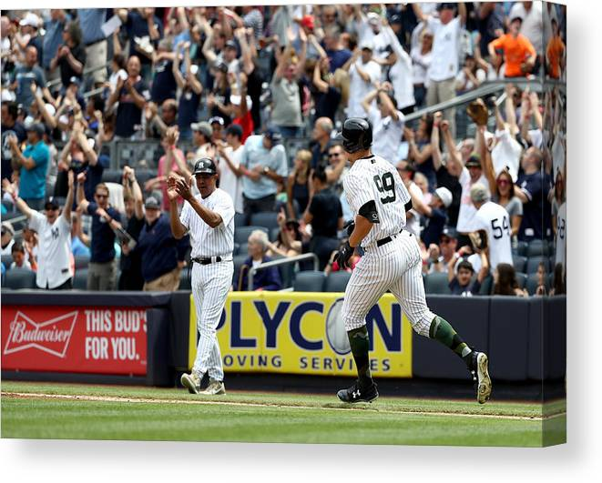 People Canvas Print featuring the photograph Oakland Athletics v New York Yankees by Elsa