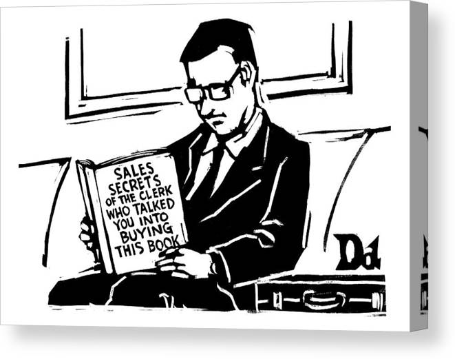 Books Canvas Print featuring the drawing A Man In A Suit Reads A Book With The Title: by Drew Dernavich