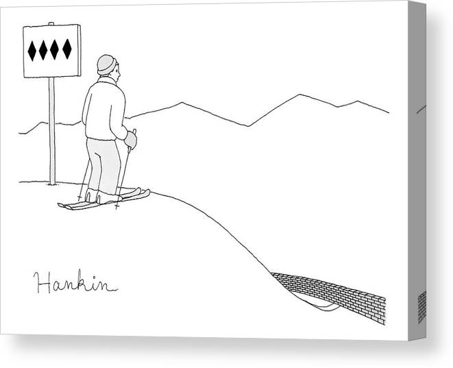 Captionless Canvas Print featuring the drawing A Man Stands At The Top Of A Ski Slope by Charlie Hankin