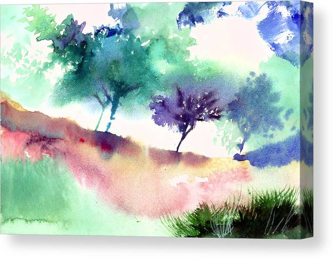 Black Canvas Print featuring the painting Against Light 1 by Anil Nene