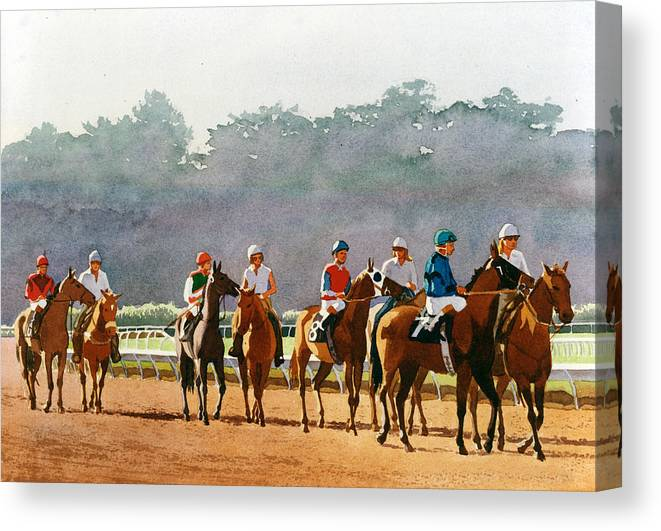 Horse Racing Canvas Print featuring the painting Approaching the Starting Gate by Mary Helmreich