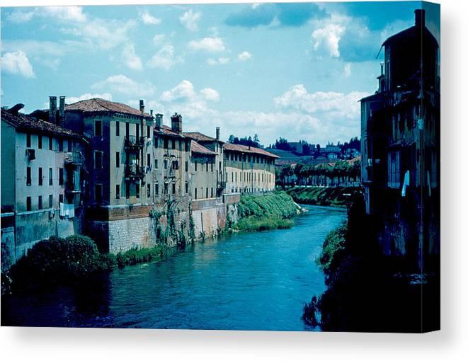 Bacchiglione Canvas Print featuring the photograph Bacchiglione in Vicenza 1962 by Cumberland Warden