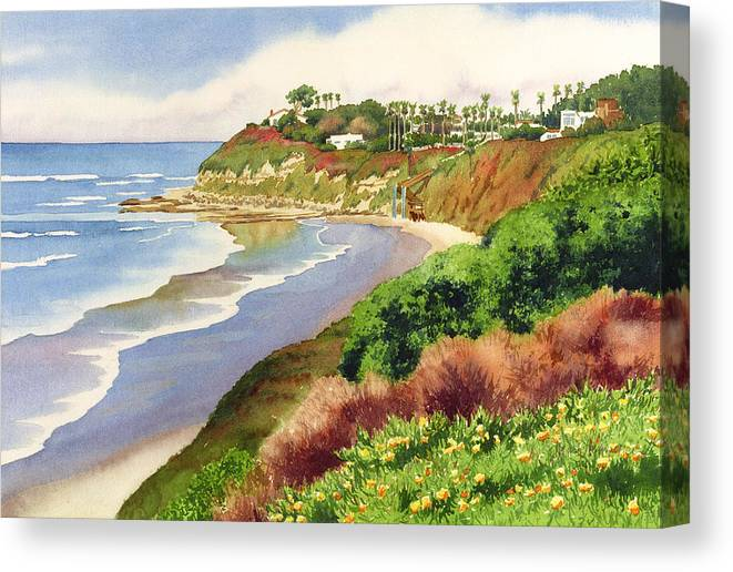 Encinitas Canvas Print featuring the painting Beach at Swami's Encinitas by Mary Helmreich