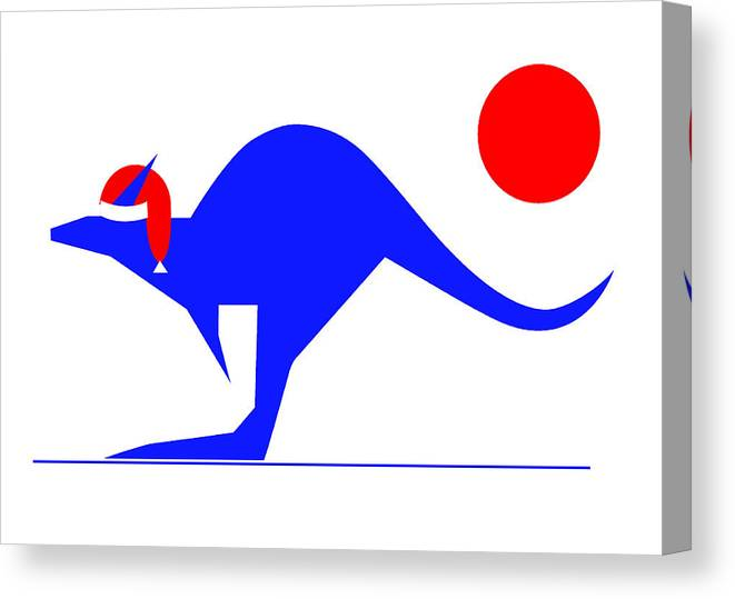 Blue Kangaroo Wishes You A Merry Christmas Canvas Print featuring the digital art Blue Kangaroo wishes you a Merry Christmas by Asbjorn Lonvig