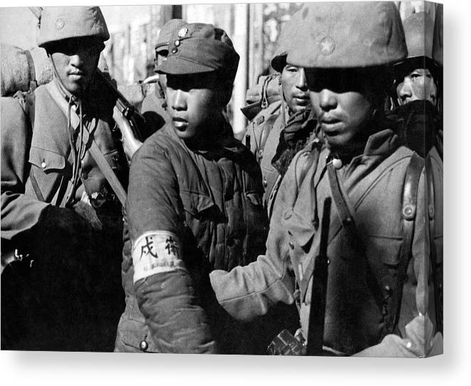 1937 Canvas Print featuring the photograph Captured Chinese Soldier by Underwood Archives