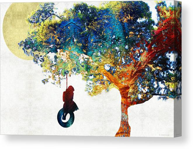 Tree Canvas Print featuring the painting Colorful Landscape Art - The Dreaming Tree - By Sharon Cummings by Sharon Cummings