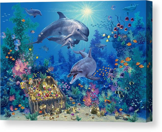 Animal Canvas Print featuring the photograph Dolphin Family Variant by MGL Meiklejohn Graphics Licensing