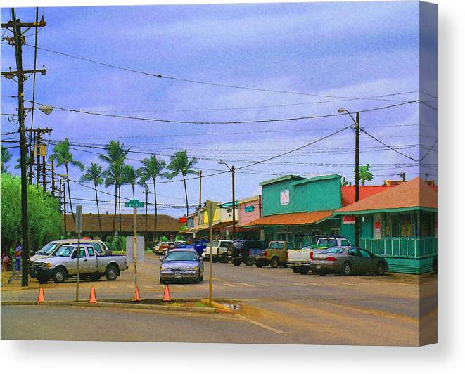 James Temple Photography Canvas Print featuring the photograph Downtown Kaunakakai by James Temple