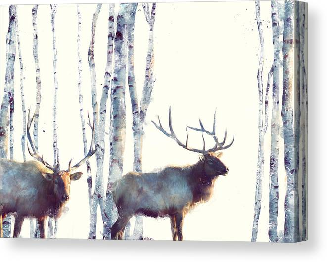 Elk Canvas Print featuring the painting Elk // Follow by Amy Hamilton