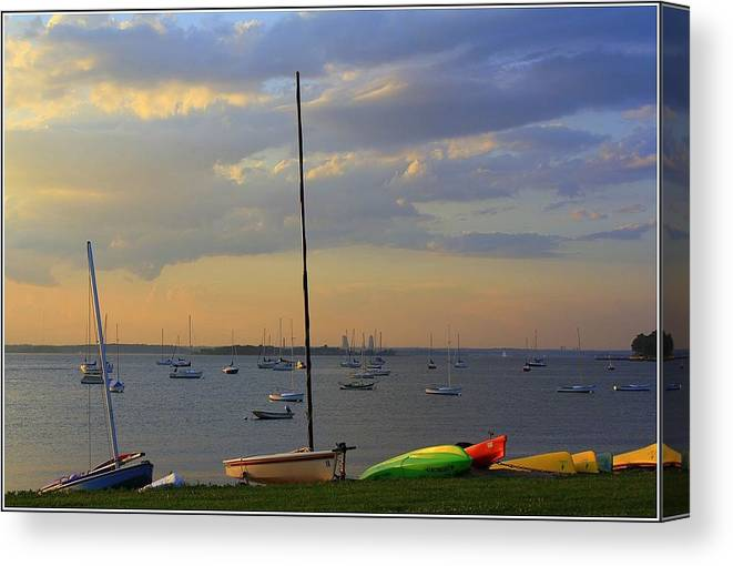 Sunsets Canvas Print featuring the photograph End Of Day At The Bay by Dora Sofia Caputo Photographic Design and Fine Art