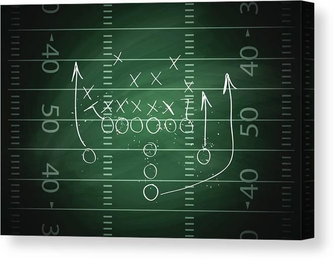 Plan Canvas Print featuring the digital art Football Play by Traffic analyzer