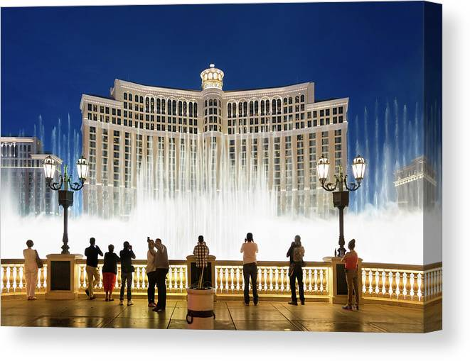 People Canvas Print featuring the photograph Fountains Of Bellagio, Bellagio Resort by Sylvain Sonnet