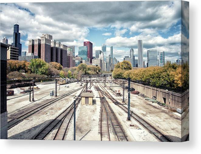 Tranquility Canvas Print featuring the photograph Grant Park Railroad Tracks by Photographer Who Enjoys Experimenting With Various Styles.