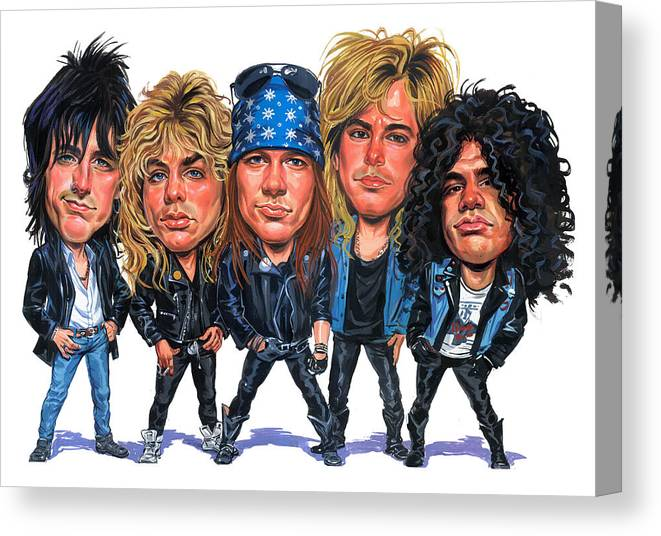 Guns And Roses Canvas Print featuring the painting Guns N' Roses by Art