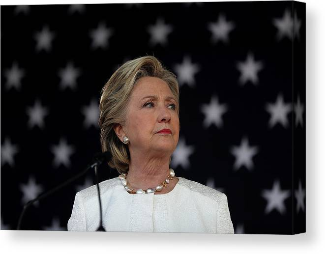 Nominee Canvas Print featuring the photograph Hillary Clinton Campaigns Across by Justin Sullivan