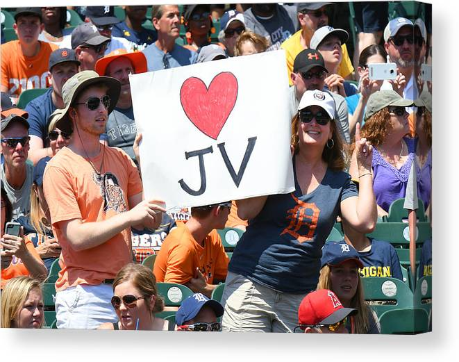 Crowd Canvas Print featuring the photograph Houston Astros v Detroit Tigers by Mark Cunningham